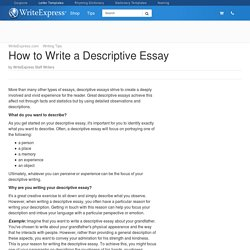 descriptive essays on happiness To understand how to write a descriptive essay at a high level,  disappointment, sadness, desire, temptation, excitement, anger, loss, happiness, rage, etc a self.
