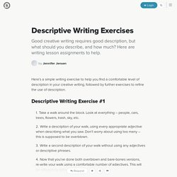 Descriptive Writing Exercises: Creative Writing Lesson Assignments for Description