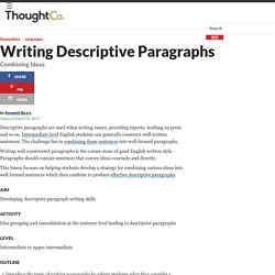 Combining Ideas to Write Descriptive Paragraphs