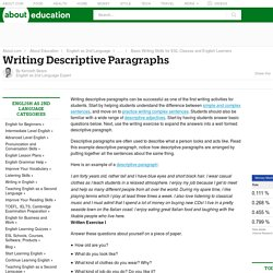 Writing Descriptive Paragraphs - How to Write Descriptive Paragraphs in English for ESL Learners