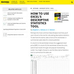 How to Use Excel's Descriptive Statistics Tool - dummies