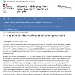 Les échelles descriptives en histoire-géographie