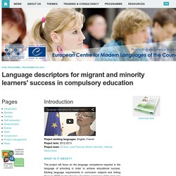 Language descriptors for migrant and minority learners' success in compulsory education