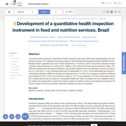 SCIELO - MARS 2020 - Development of a quantitative health inspection instrument in food and nutrition services, Brazil