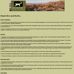 Desert Do's and Don'ts