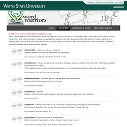 Words that deserve wider use - Word Warriors - Wayne State University