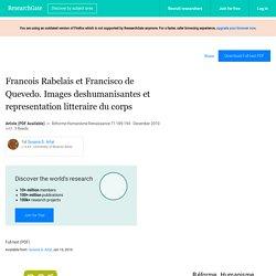 Francois Rabelais et Francisco de Quevedo. Images deshumanisantes et representation litteraire du corps