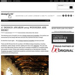 A' Design Awards 2015 Winners Are Here!