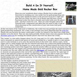 Plan, Design and Build a Homemade Gold Rocker Box