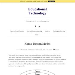 Kemp Design Model - Educational Technology
