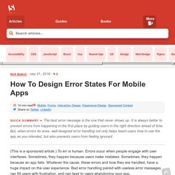 How To Design Error States For Mobile Apps