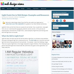 Light Fonts Use in Web Design: Examples and Resources