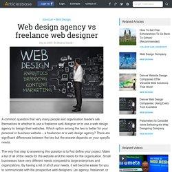 Web design agency vs freelance web designer