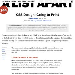 CSS Design: Going to Print