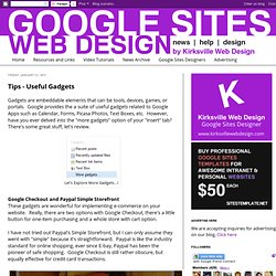 Web Design with Google Sites: Tips - Useful Gadgets