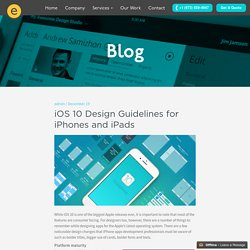 iOS 10 Design Guidelines for iPhones and iPads