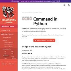 Design Patterns: Command in Python