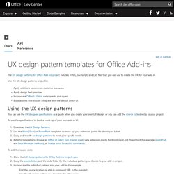 UX design patterns - Docs - Office Dev Center