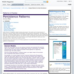 Design Patterns for Data Persistence