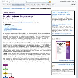 Design Patterns: Model View Presenter