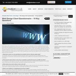 Web Design Client Questionnaire – 10 Key Questions