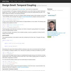Design Smell: Temporal Coupling