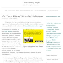 Why 'Design Thinking' Doesn't Work in Education