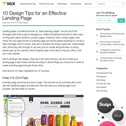 10 Design Tips for an Effective Landing Page