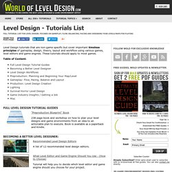Level Design Tutorials, Advice, Workflow and Tips