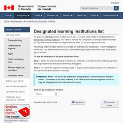 Designated learning institutions list
