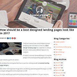 How should be a best designed landing page look like in 2017 – Nexstair