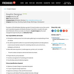 Graphic Designer Edmonton, AB | All Weather Windows | FreshGigs.ca