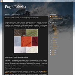 Designer Fabric Online - Excellent Quality and Innovation