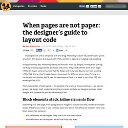 When pages are not paper: the designer's guide to layout code