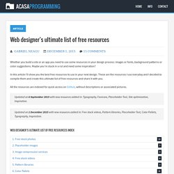 Web designer's ultimate list of free resources - AcasA Programming