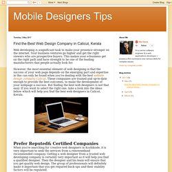 Mobile Designers Tips: Find the Best Web Design Company in Calicut, Kerala