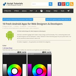 10 Fresh Android Apps for Web Designers & Developers