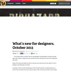 What's new for designers, October 2013