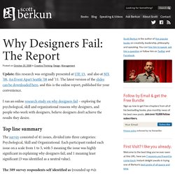 Why Designers Fail: The Report