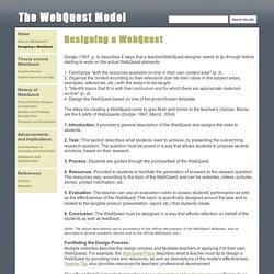 Designing a WebQuest - The WebQuest Model