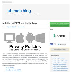 Designing Apps for Children: Guide to COPPA and Mobile Apps