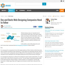 Dos and Donts Web Designing Companies Need to Follow