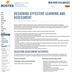Designing effective learning and assessment