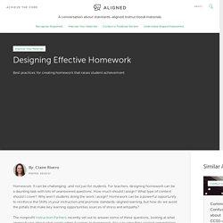 Designing Effective Homework - Achieve the Core Aligned Materials