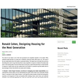 Ronald Cohen, Designing Housing for the Next Generation