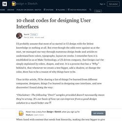 10 cheat codes for designing User Interfaces – Design + Sketch