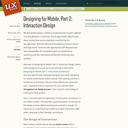 Designing for Mobile, Part 2: Interaction Design