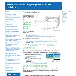 Webdesign-Regeln - Forms that work: Designing web forms for usability - The design of forms