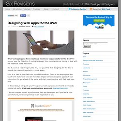 Designing Web Apps for the iPad