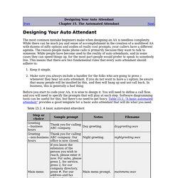 Designing Your Auto Attendant